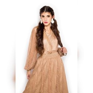 Brown lace skirt + lace sleeve blouse